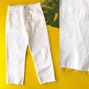 Zara White Denim Hi Rise Cropped Jeans Raw Hem 10